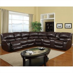 Bowery Hill Leather Reclining Sectional in Burgundy