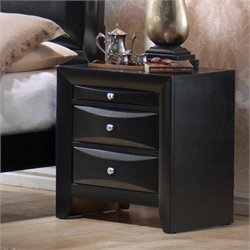 Bowery Hill 2 Drawer Nightstand in Glossy Black Finish