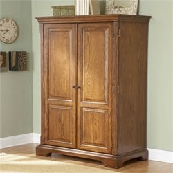 Bowery Hill Computer Armoire in Warm Oak
