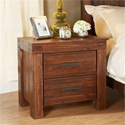 Bowery Hill 2 Drawer Solid Wood Nightstand in Brick Brown