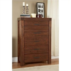Bowery Hill 5 Drawer Solid Wood Chest in Brick Brown