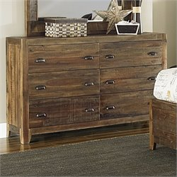 Bowery Hill Wood 6 Drawer Dresser in Natural