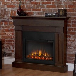 Bowery Hill Electric Slim Line Fireplace in Chestnut Oak