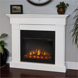 Bowery Hill Electric Slim Line Fireplace in White
