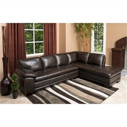 Bowery Hill 2 Piece Leather Sectional in Dark Brown