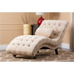 Bowery Hill Fabric Upholstered Chaise Lounge in Sandstone