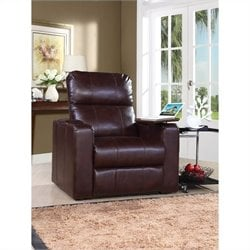 Bowery Hill Leather Power Recliner in Brown