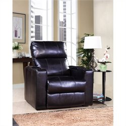 Bowery Hill Leather Power Recliner in Black