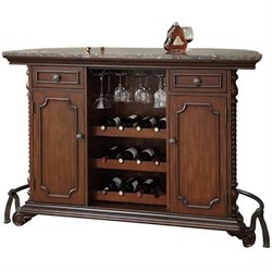Bowery Hill Traditional Home Bar Unit with Marble Top in Cherry