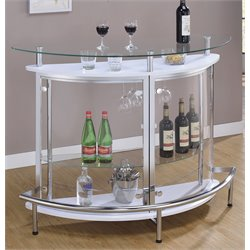 Bowery Hill Contemporary Home Bar Unit with Clear Acrylic Front in White