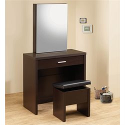 Bowery Hill 2 Piece Vanity Set with Hidden Mirror Storage in Cappuccino