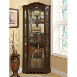 Bowery Hill 5 Shelf Corner Curio Cabinet with Shaped Crown in Rich Brown