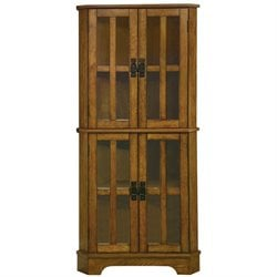 Bowery Hill 4 Shelf Corner Curio Cabinet in Warm Brown Oak