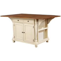 Bowery Hill Kitchen Island with Drop Leaves in Butter Milk