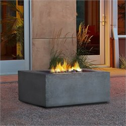 Bowery Hill Square Natural Gas Fire Table in Glacier Gray
