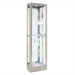 Bowery Hill Curio Modern Display Cabinet in Platinum