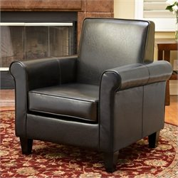 Bowery Hill Leather Club Chair in Black