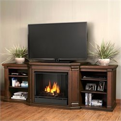 Bowery Hill Entertainment Gel Fireplace Chestnut in Oak Finish