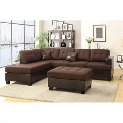 Bowery Hill 3 Piece Reversible Sectional Sofa in Chocolate