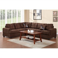 Bowery Hill 2 Piece Reversible Sectional Sofa in Chocolate