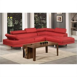 Bowery Hill 2 Piece Sectional Sofa in Carmine