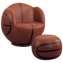 Bowery Hill Basketball Swivel Kids Chair and Ottoman in Brown