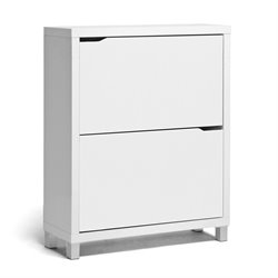 Bowery Hill Modern Shoe Cabinet in White