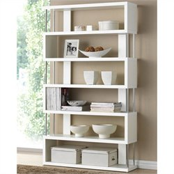 Bowery Hill 6 Shelf Modern Bookcase in White