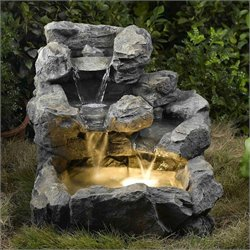 Bowery Hill Cascading Outdoor Indoor Fountain with Illumination