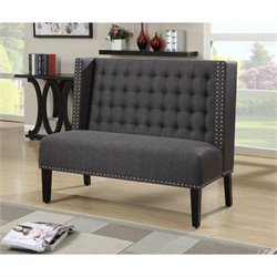 Bowery Hill Fabric Living Room Bench in Anthracite