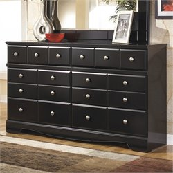 Bowery Hill Signature Design by 6-Drawer Dresser in Almost Black