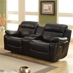 Bowery Hill Reclining Leather Loveseat in Black
