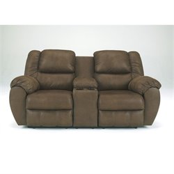 Bowery Hill Signature Design by Double Microfiber Reclining Loveseat in Canyon