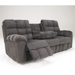 Bowery Hill Microfiber Reclining Sofa in Slate