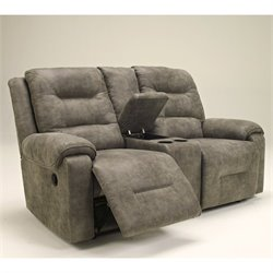 Bowery Hill Signature Design by Double Microfiber Reclining Loveseat in Smoke