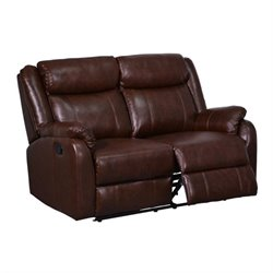 Bowery Hill Leather Reclining Loveseat in Brown