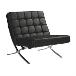 Bowery Hill Leather Accent Chair in Black