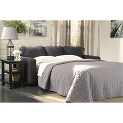 Bowery Hill Microfiber Queen Sofa Bed in Charcoal