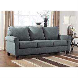 Bowery Hill Fabric Queen Size Sleeper Sofa in Denim