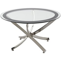 Bowery Hill Metal and Glass Cocktail Table in Chrome