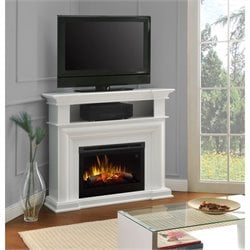 Bowery Hill Corner TV Stand with Electric Fireplace in White