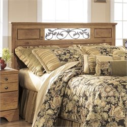 Bowery Hill Wood Full Queen Panel Headboard in Light Brown