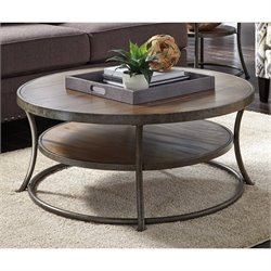 Bowery Hill Round Coffee Table in Light Brown