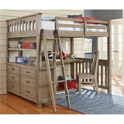 Bowery Hill Full Loft Bed with Desk in Driftwood