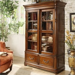 Bowery Hill Sliding Door Bookcase in Cognac Cherry