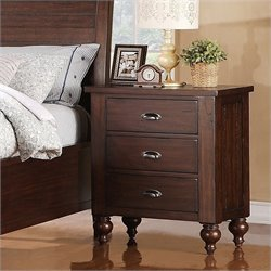 Bowery Hill 3-Drawer Nightstand in Warm Tobacco