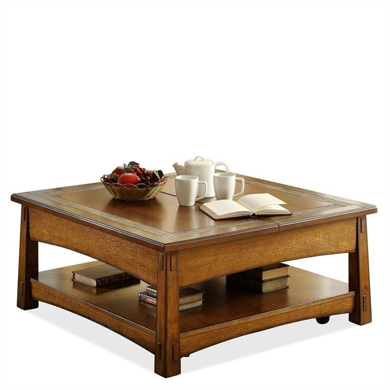 Bowery Hill Square Lift Top Cocktail Table In Americana Oak Bh 433101