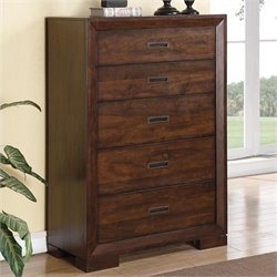 Bowery Hill Five Drawer Chest in Warm Walnut