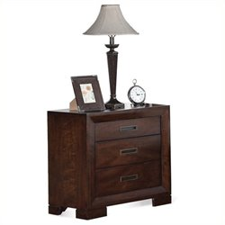 Bowery Hill Three Drawer Nightstand in Warm Walnut