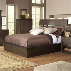 Bowery Hill Queen Slat Panel Bed in Warm Cocoa